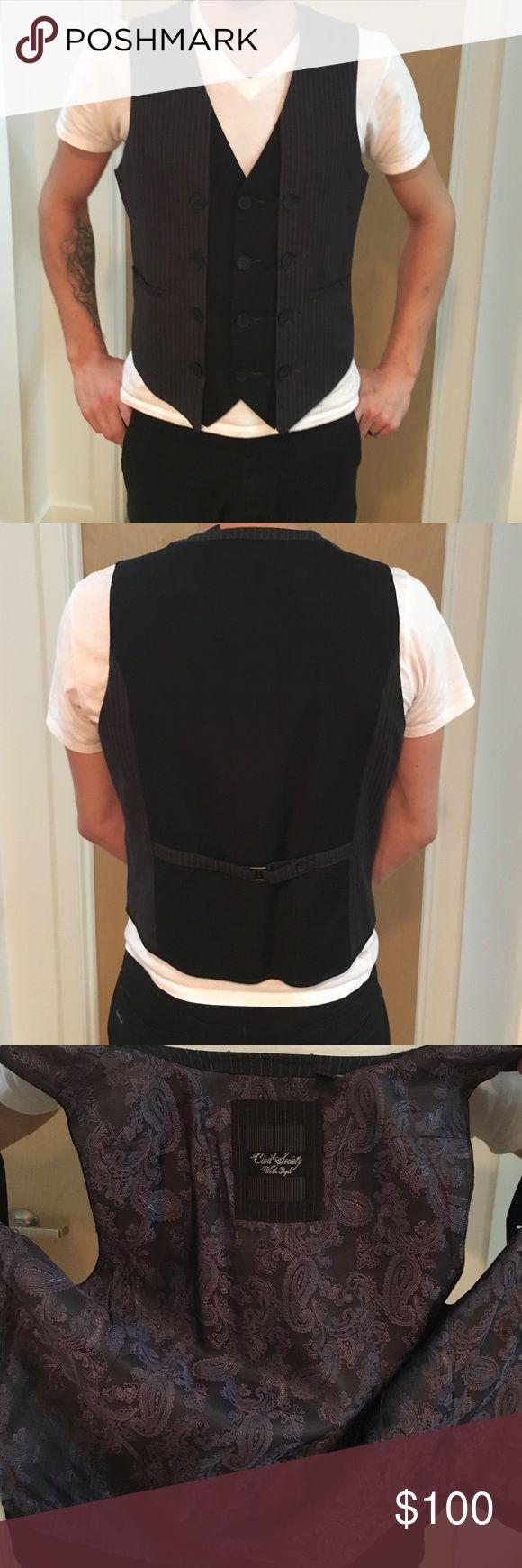 Civil Society unique vest Black silver pinstripe unique vest *super rare civil society Suits & Blazers Vests