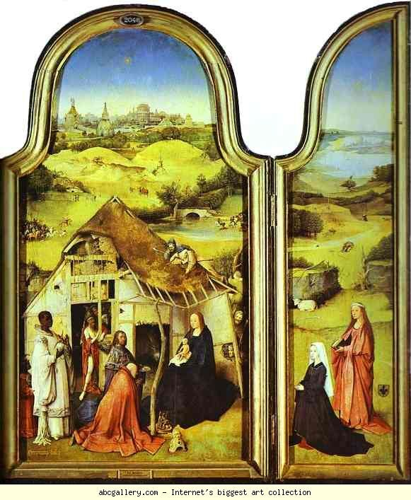 Hieronymus Bosch. Epiphany Triptych. Left wing: The Donor with St. Peter and St. Joseph. More. Central panel: The Virgin and Child and the Three Magi. More. Right wing: The Donor with St. Agnes. More. Olga's Gallery - Epiphany Triptych. Left wing: The Donor with St. Peter and St. Joseph. More. Central panel: The Virgin and Child and the Three Magi. More. Right wing: The Donor with St. Agnes. More. c. 1510. Oil on panel. Museo del Prado, Madrid, Spain: