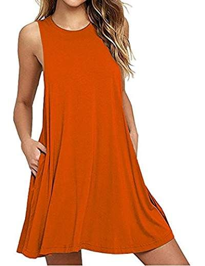 211234946f Summer Beach Dresses for Women Tank Top Bikini Swimwear Cover up Plain  Pleated Loose