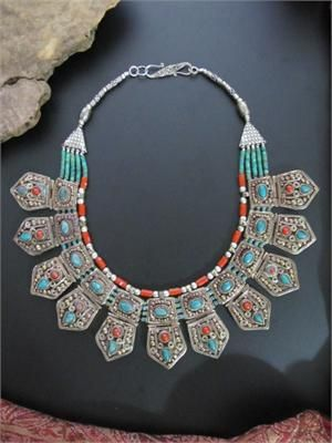Exquisite Nepali-Tibetan Tribal Jewelry Necklace