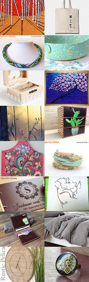 Lovely Etsy Treasury with unique handmade gifts....  Lovely Mike Kraus birch painting.... Lovely Southwestern Teal Cat BEd... Tuesday Treasures by Tamara Bobbitt on Etsy--Pinned+with+TreasuryPin.com