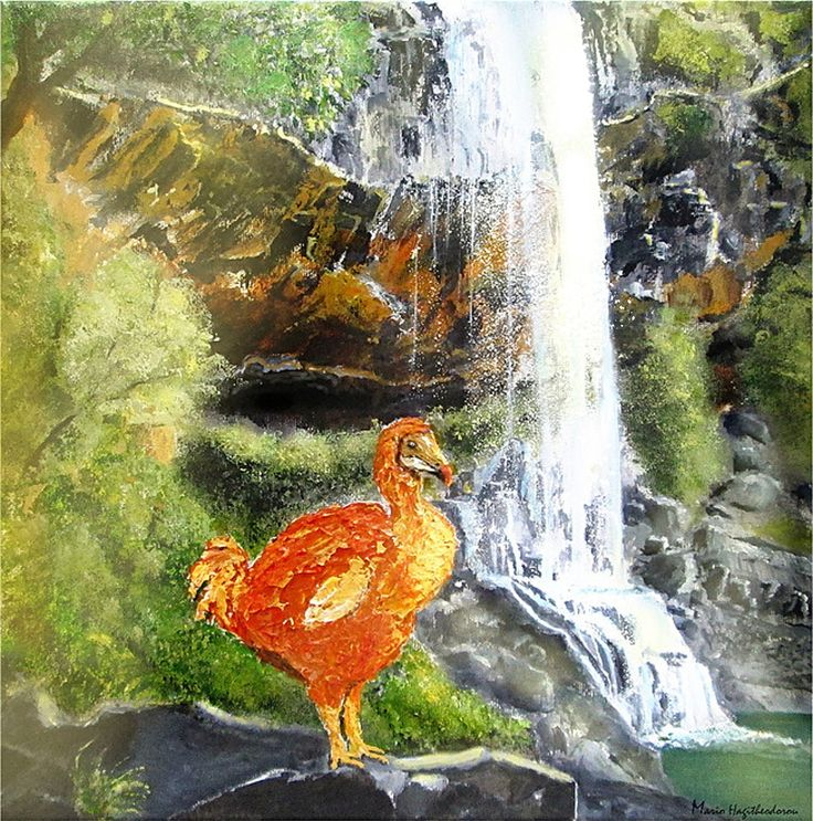 A portait of a dodo when these birds were roaming the island of Mauritius. It was around afternoon at the 7 waterfalls near the village of Henrietta, today the landscape is almost the same.