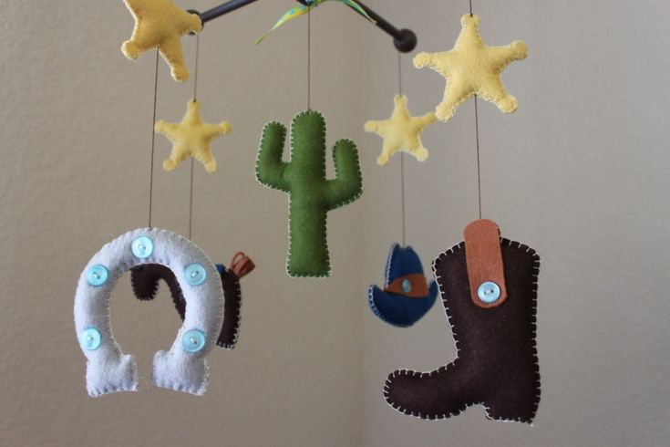 "Baby Crib Mobile - Baby Mobile - Nursery Cowboy Mobile ""Cowboy Western"" (You can pick your colors) Mobile - Crib Mobile. $90.00, via Etsy."