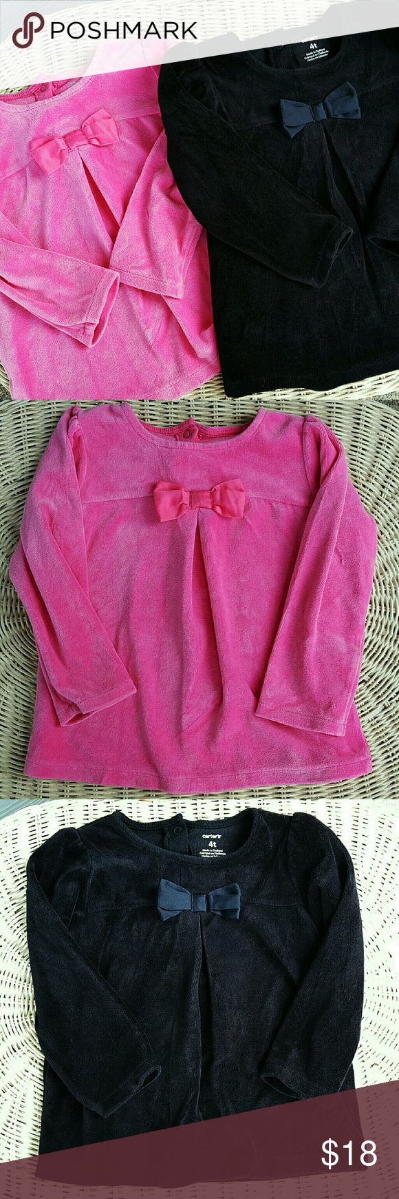 Toddler Girls Velour Top Bundle Great condition!! Super cute and cozy ?? Carter's Shirts & Tops Tees - Long Sleeve