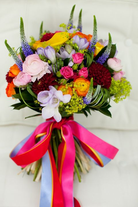 floral recipe: rainbow wedding flowers. The link here lists out the flower types used for each bouquet