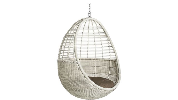 pod hanging chair with cushion from CB2: a possibility for dangling over our pond...