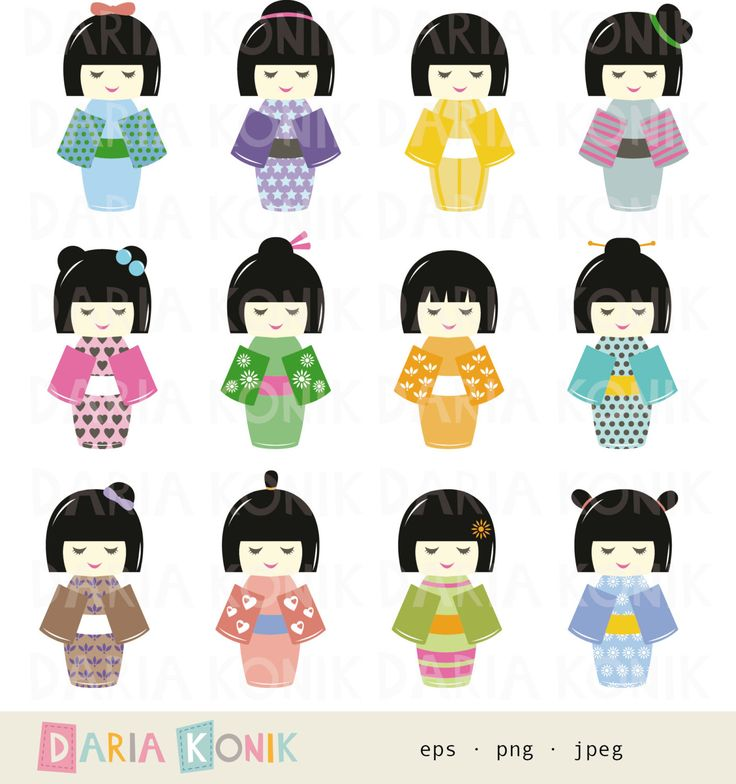 Kokeshi Doll Art | Kokeshi Dolls Clip Art Set-instant download Japanese by dariakonik