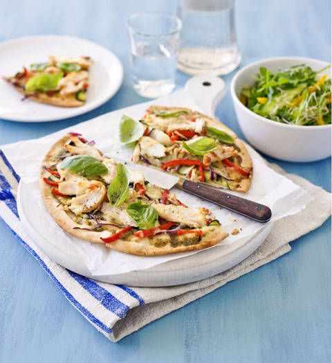 Chicken and pesto pizza: You can't go wrong with a chicken and pesto combo and this speedy recipe is just the ticket for big flavours without the fuss.
