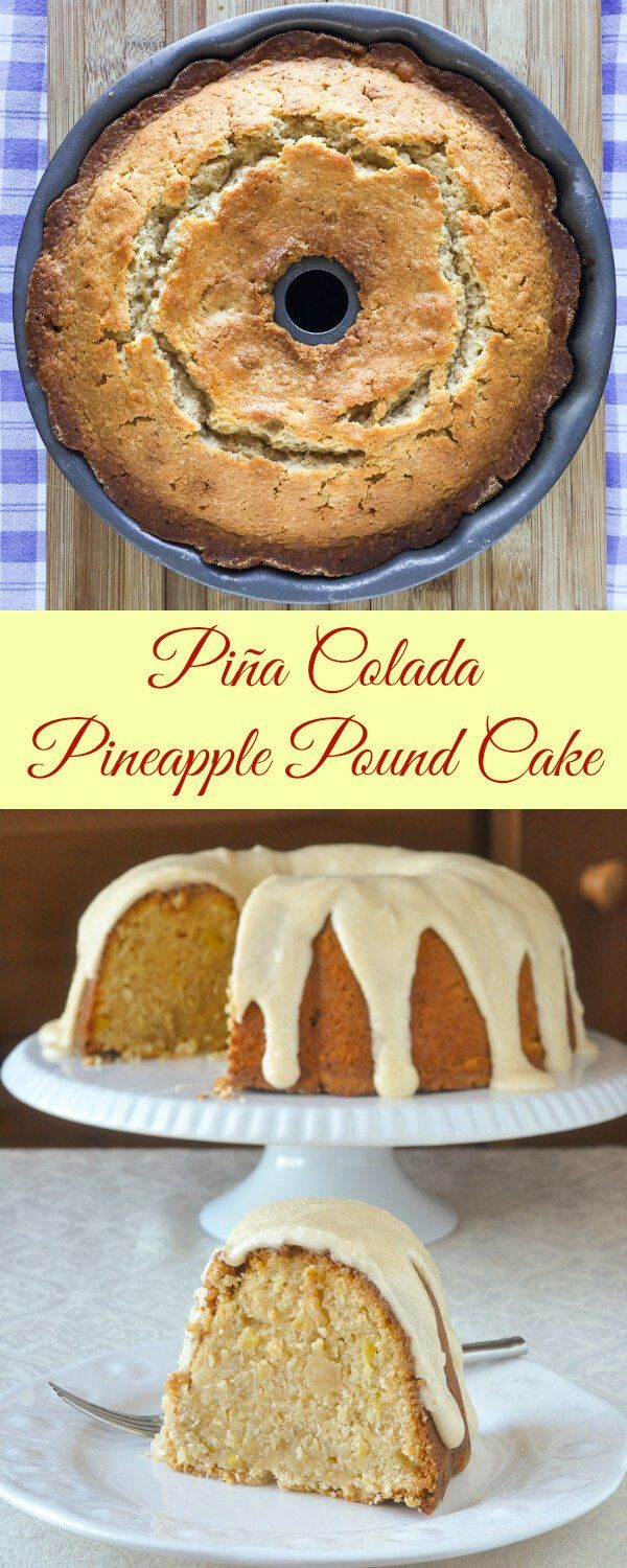 Pina Colada Pound Cake. A buttery pound cake peppered with toasted coconut and fresh pineapple, soaked with rum and covered in a rum and butter glaze.
