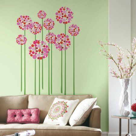 RoomMates Bright Floral Dot Peel And Stick Giant Wall Decals