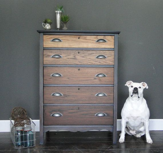 """SOLD***   Antique oak ombre stained chest of drawers, dresser, driftwood gray grey black stain """"Industrial Driftwood V"""" Modern Vintage"""