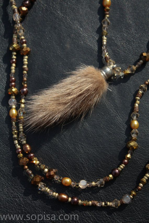 Long beaded necklace with real fox fur pendant by SopisaJewelry