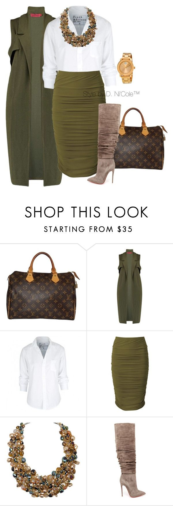 """Untitled #3230"" by stylebydnicole ❤ liked on Polyvore featuring Louis Vuitton, Boohoo, Frank & Eileen, ALDO, Christian Louboutin and Movado"