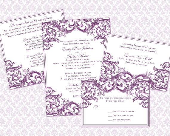 DIY Wedding Invitation Template Set (5x7 invitation & enclosure cards ...