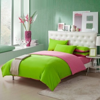 The fresh tone create an atmosphere of peacefulness that turns your bedroom into the sanctuary you always desired. Pink and Lime Green Bedding Sets have never looked so luxurious. The duvet cover is made of solid pink and solid green, the pillowcases is the same tone, and the sheets is solid pink.
