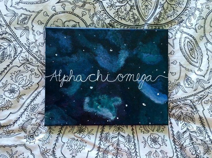 Alpha Chi Omega galaxy canvas painting