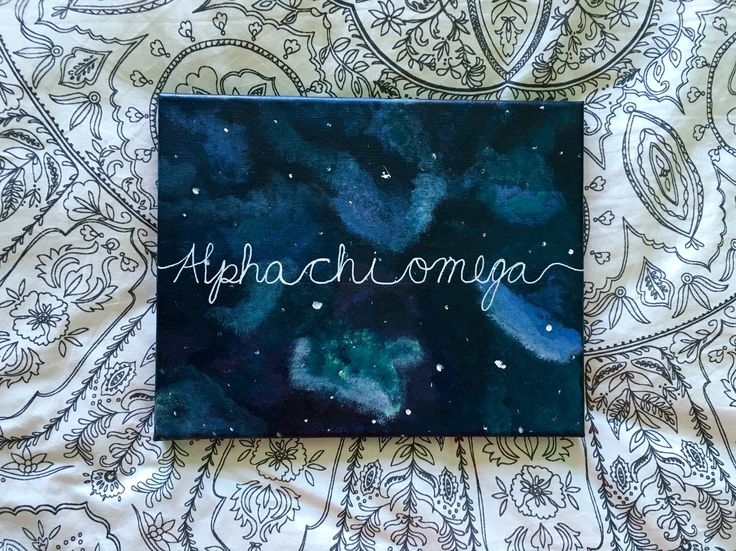 Alpha Chi Omega galaxy canvas painting