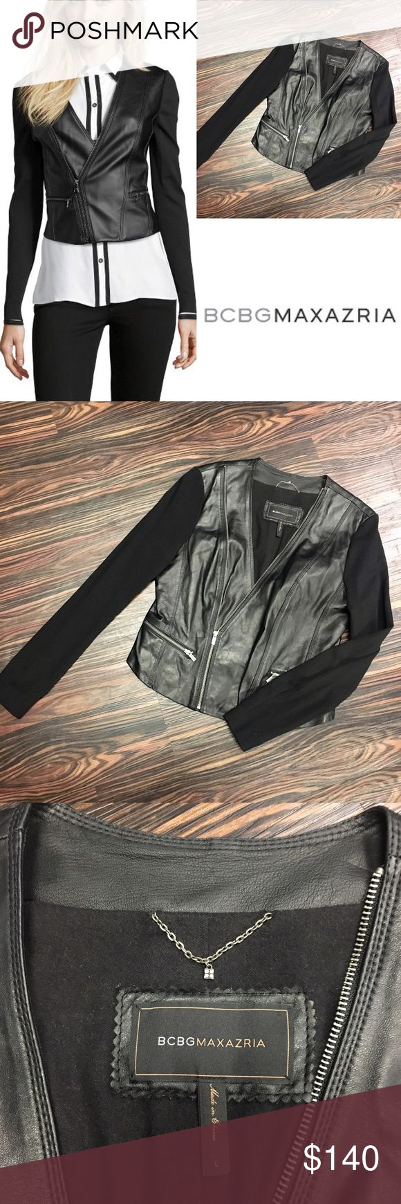 (Make an offer) BCBGMAXAZRIA LEATHER jacket. Worn a handful of times. Jacket bodice is 100% leather. The rayon/nylon ponte sleeves make it extra comfortable with added style. Zipper detail with two pockets. Very edgy, fun and cool jacket! BCBGMaxAzria Jackets & Coats