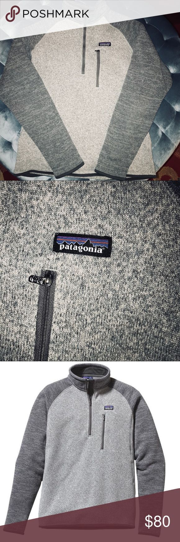 Men's Patagonia Better Sweater 1/4 Zip Fleece Sz M Great Condition Grey on Charcoal Better Sweater by Patagonia. Size is a Medium in men's comes with front pocket Zip. Light pilling on neck, other than that sweater is perfect and has been dry cleaned before sale. Retail is $100+ -All serious Offers considered!☺️ Patagonia Sweaters