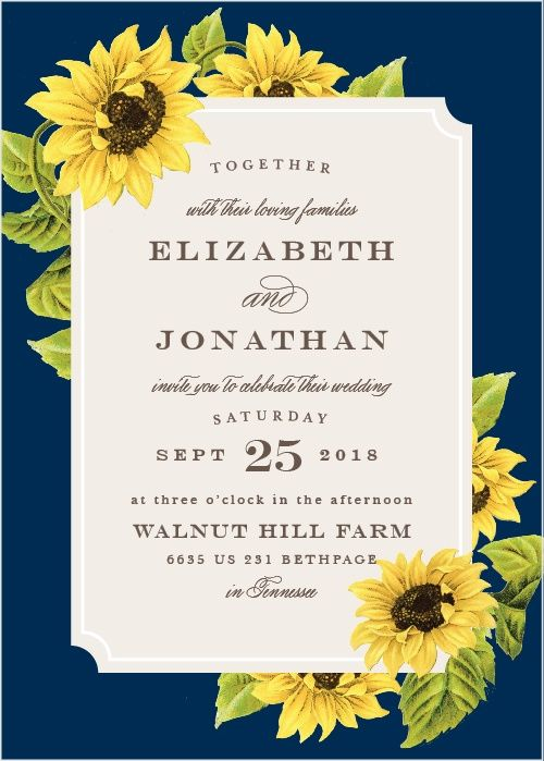 sunflower frame wedding invitations in 2018 my wedding