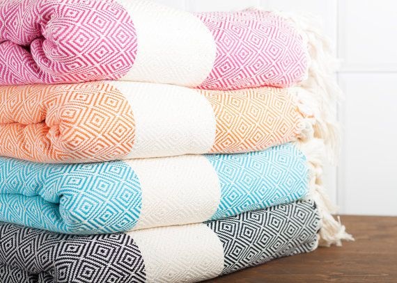 Cotton Throw, Turkish Towel, Beach Blanket, Bedspread, Seat Cover, Black, Pink, Turquoise, Orange