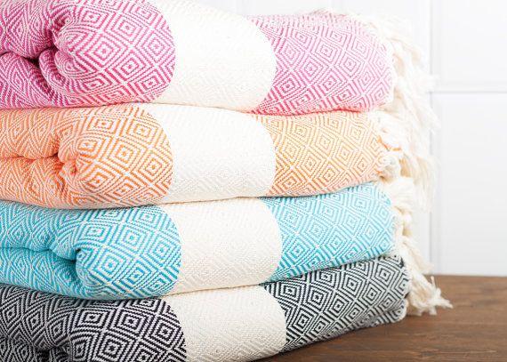 Diamond Cotton Throw Turkish Towel Beach Blanket by LongestThread