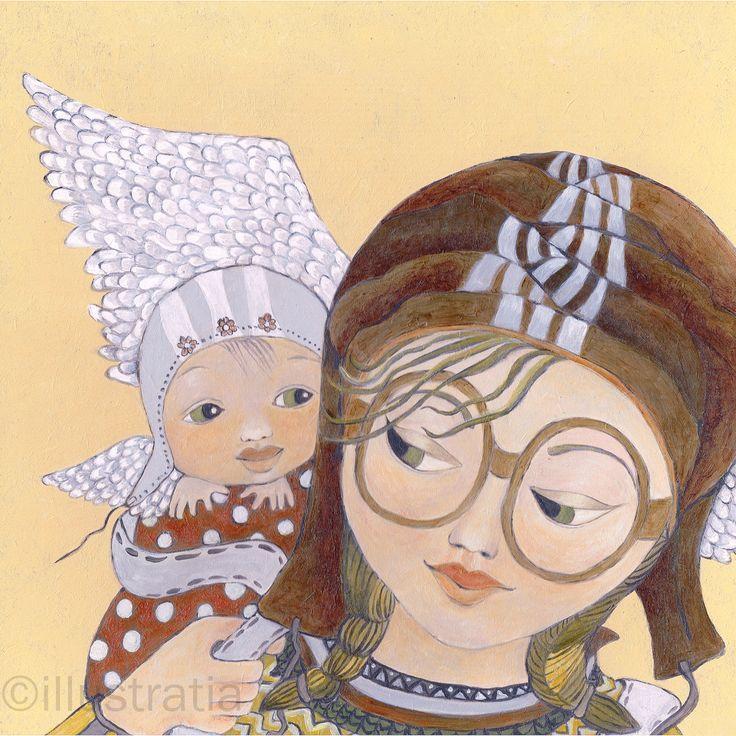 Acrylschildering op paneel 30x30 cm. Uit de 8-delige serie: 'angelical antics'. titel: 'zooming in'