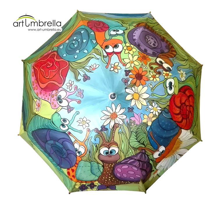 Hand Painted Umbrella - Funny Snails - 2016 - December