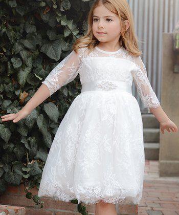 White Lace Dress - Toddler & Girls