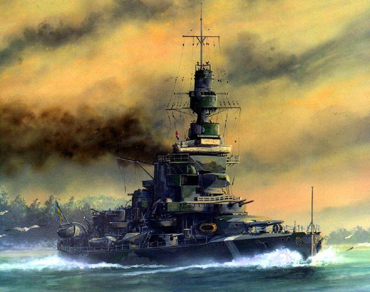 Acorazado costero sueco Drottning Victoria , por desplazamiento, 7.000 toneladasun crucero, por su armamento, rivalizaba con un acorazado , con cuatro cañones de 11 pulgadas y ocho de 6. Más en www.elgrancapitan.org/foro