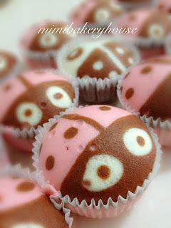 Ladybug Steamed Strawberry Cupcakes