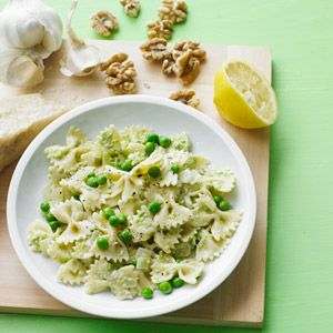 Pasta with Walnut Pesto and Peas Recipe - Woman's Day *tried this last night and its a keeper! Light, fresh and healthy (used whole wheat pasta for an even better version)