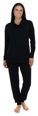 Sleepyheads Women's Cowlneck Pajama in Black