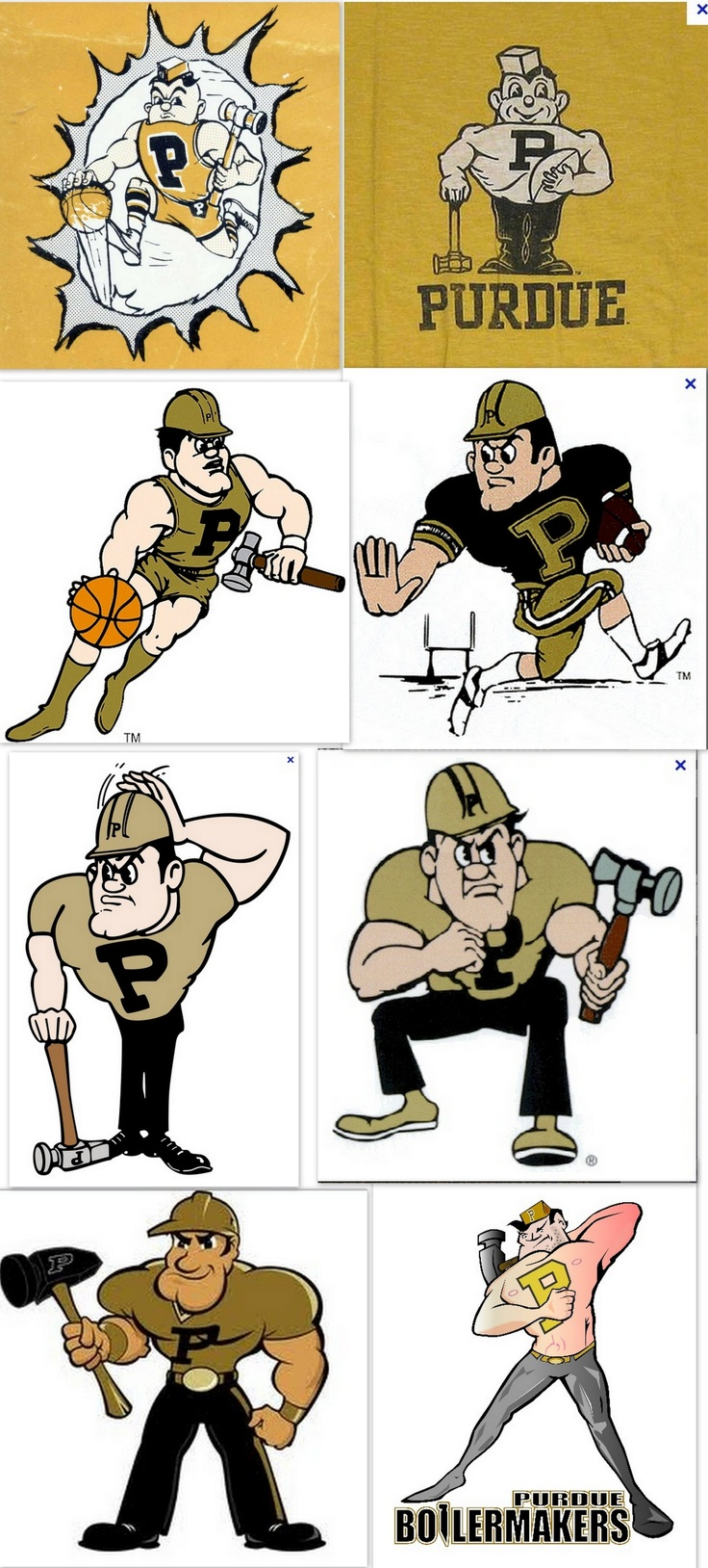 The many faces of Purdue Pete. Looks like they are trying to Marvelize him