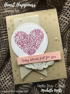 Michelle Mills - Independent Stampin' Up! Demonstrator Australia. FB: Hello Day Cards. CASE'd from the quarterly deomonstrator magazine Stampin' Success. Using Heart Happiness Stamp Set. All items are Stampin' Up!®    #eatsleepstamprepeat #gogetstamped  #stampinup #stamping #makeacardsendacard #loveitchopit #worldhelloday #hello #helloday #hellodaycards #heart #happiness #stitched #today #blooms #for you
