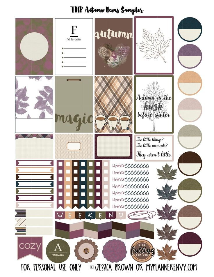 Free Printable Autumn Bonus Sampler Stickers for The Happy Planner