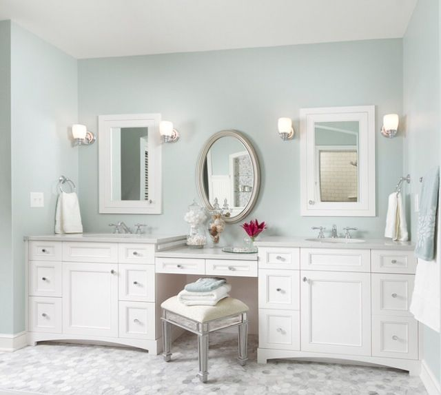 Amazing Double Sink Bathroom Vanity With Makeup Area  Home Design Ideas