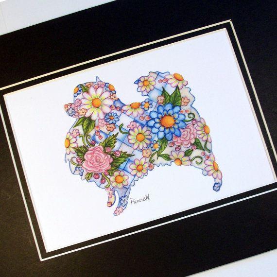 Pomeranian Art Print- Pretty Pomeranian Silhouette- Blue