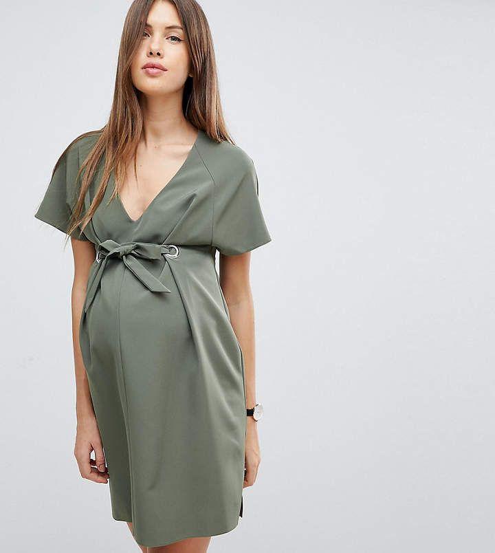 ASOS Maternity V Neck Column Mini Dress with Eyelet and Tie #maternitydress #springmaternitydress #summermaternitydress #pregnancydress #bumpstyle #affiliate
