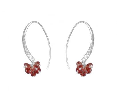 Sterling silver hammered earrings with a cluster of garnet faceted beads http://www.mounir.co.uk/collections/clustered_gems/4621_hammered_earrings_with_drop