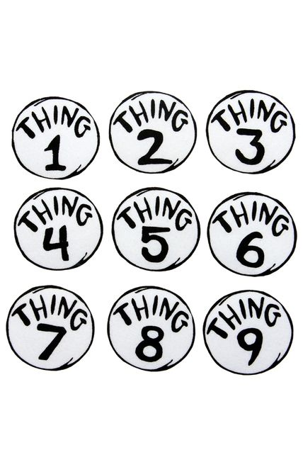 Thing 1 & 2, 1 - 9 Patch Set - Make your own Thing 1 costume from Cat in the…