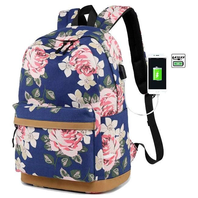 Cute Cats Flower Shoulder Backpack Messenger Crossbody Laptop Bag Student Bookbags for Kid Girls Boys