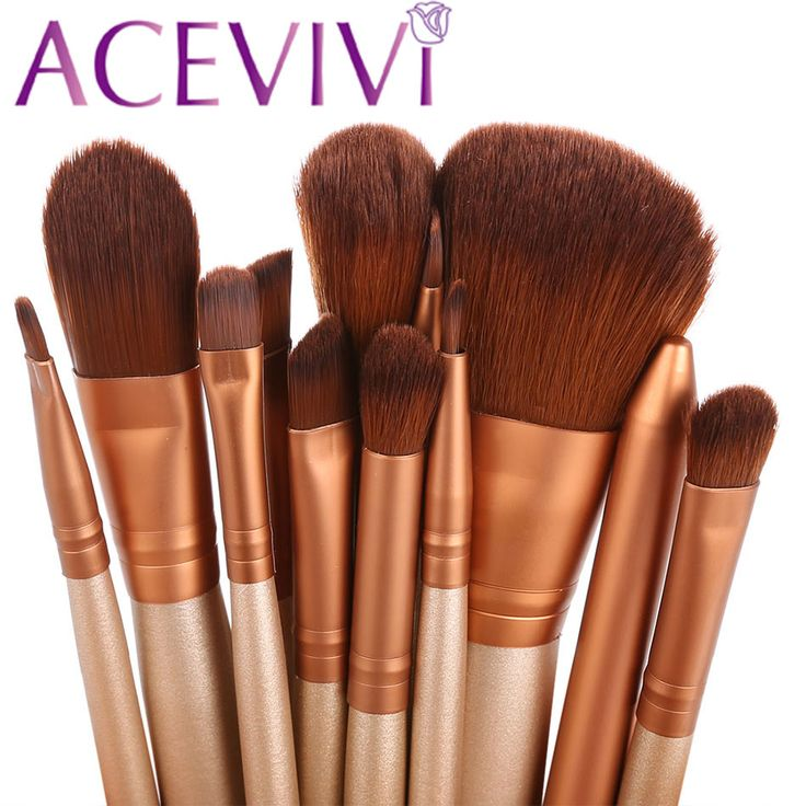 Kayu kopi 12 Pcs Blending Makeup Brush Kit Kosmetik Profesional Set Kit Bedak Pewarna Bibir Liner Brush Tool $ k