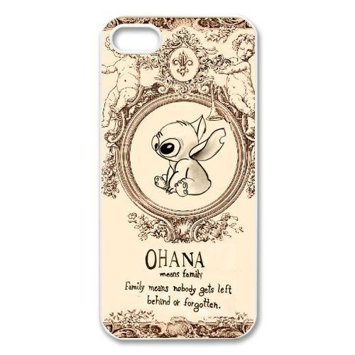 Coque iPhone 5S,Lilo & Stitch Ohana Coque iPhone 5 5S-Silicone gel TPU transparent haute densité-Coque Housse Etui pour Apple iPhone 5/5S