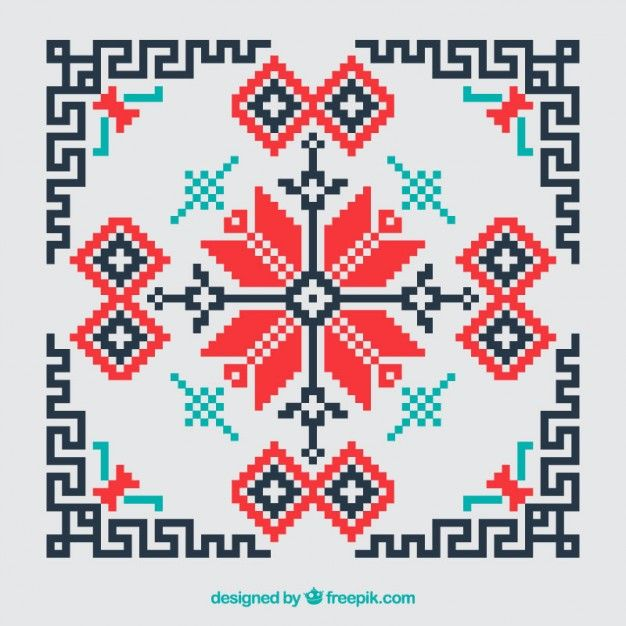 Geometric cross stitch red and black background Free Vector