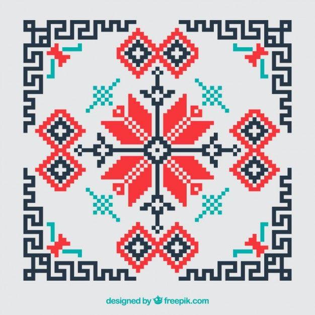 Fondo geométrico de punto de cruz rojo y negro Vector Gratis