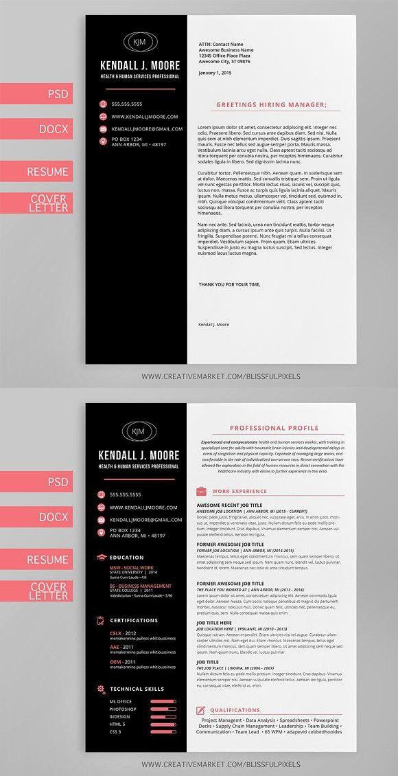 Resume   Cover Letter Template Suite #resume