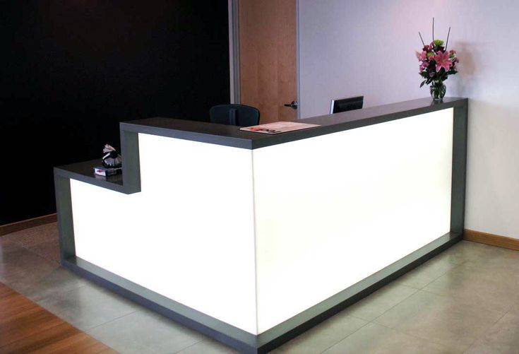 Black And White Reception Desk Features Lite White Plexiglass Reception Desk Design Reception