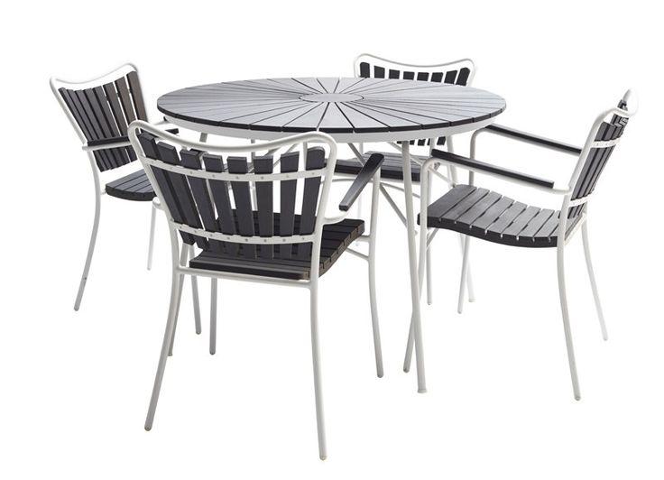 Cinas Hard & Ellen Havemøbelsæt - Lækkert sæt havemøbler med havebord i hvidmalet alustel med rund lamelbordplade i sort poly wood - Ø110 cm - samt flotte stole også i hvidmalet alustel og sort poly wood med behagelige armlæn. Det flotte sæt, der er egnet til både haven og terrassen, har et stilrent skandinavisk look.