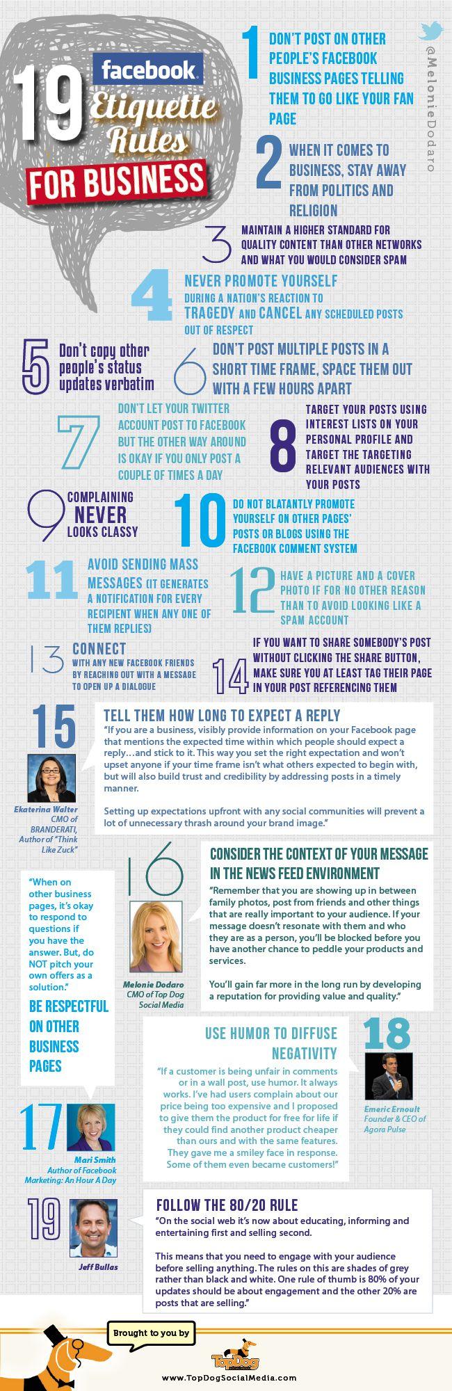 19 Facebook Etiquette Rules for Business [@Lisa Phillips-Barton. Simms Furuya Dodaro - TopDogSocialMedia]